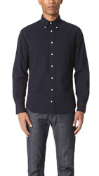 Gitman Brothers Vintage Long Sleeve Navy Over Dye Seersucker Shirt