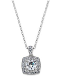 Eliot Danori Silver Tone Crystal Square Pendant Necklace