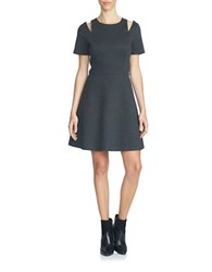 1.State Short Sleeve Fit And Flare Dress Dark Heather Grey