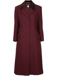 Versace Vintage Collar Bore Long Jacket Coat Red