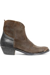 Golden Goose Deluxe Brand Young Distressed Suede And Leather Ankle Boots Brown