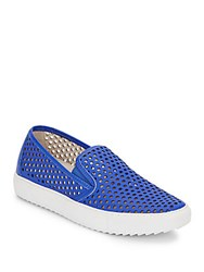 Kenneth Cole Foxy King Perforated Leather Slip On Sneakers Electric Blue