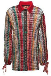 Missoni Woman Open Knit Wool Blend Shirt Multicolor