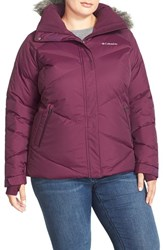 Plus Size Women's Columbia 'Lay D' Faux Fur Trim Hooded Down Jacket Purple Dahlia Dobby