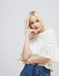 Hazel Lace 3 4 Wide Sleeve Shell Top Off White