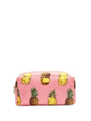 Dolce And Gabbana Pineapple Print Make Up Bag Pink Multi