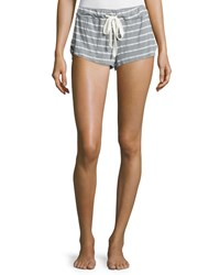 Eberjey Striped Lounge Shorts Sage Gray Sage Grey