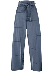 Erika Cavallini Plaid Wide Legged Cropped Trousers Grey