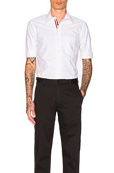 Thom Browne Classic Short Sleeve Button Down With Ribbon Placket In White