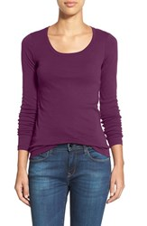 Caslonr Women's Caslon 'Melody' Long Sleeve Scoop Neck Tee Purple Dark