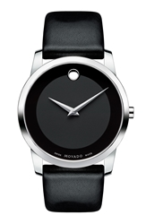Movado 'Museum' Leather Strap Watch 40Mm Black