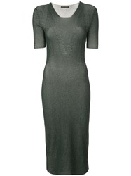 Narciso Rodriguez Fitted Ribbed Knit Dress Green