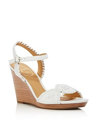 Jack Rogers Clare Leather Platform Wedge Sandals White