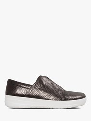 Fitflop Racine Slip On Trainers Reptile Black Leather