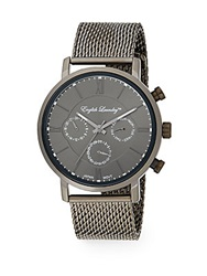 English Laundry Gunmetal Tone Stainless Steel Chronograph Mesh Bracelet Watch