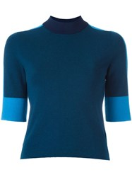 Tory Burch Contrast Sleeves Sweater Blue
