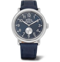 Shinola The Runwell 41Mm Stainless Steel And Leather Watch Blue