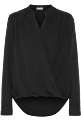 Splendid Surplice Wrap Effect Voile Blouse Black