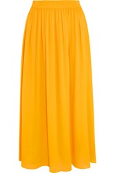 Emilio Pucci Georgette Midi Skirt Yellow