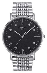 Tissot Men's Everytime Bracelet Watch 42Mm Silver Black Silver