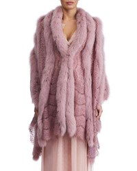 Gorski Fox Fur And Lace Shawl Pink