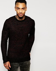 Religion Boucle Knitted Jumper In Mixed Yarns Black