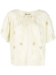 Innika Choo Floral Embroidered Shirt Yellow
