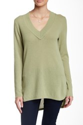 Cullen Hi Lo Wide V Neck Cashmere Sweater Green