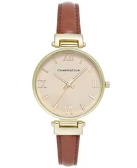 Charter Club Women's Brown Imitation Leather Strap Watch 36Mm Only At Macy's