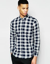 Pull And Bear Check Shirt In Navy Regular Fit Navy