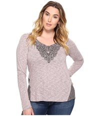 Roper Plus Size 0570 Heather Jersey Henley Pink Women's Clothing