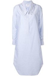 Thom Browne Drop Collar Oxford Shirtdress Blue