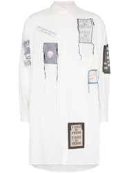 Yohji Yamamoto Patch Embroidered Oversized Shirt White