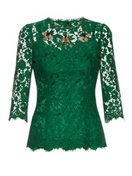 Dolce And Gabbana Cordonetto Lace Embellished Top Green
