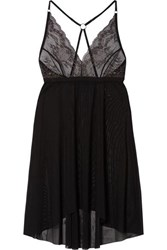 Hanky Panky Mesh And Metallic Lace Chemise Charcoal