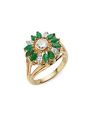 Estate Jewelry Collection Cluster White Diamond Emerald And 18K Yellow Gold Ring