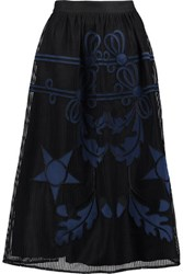 Temperley London Dinah Embroidered Woven Midi Skirt Black