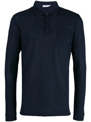 Sunspel Plain Polo Shirt Blue