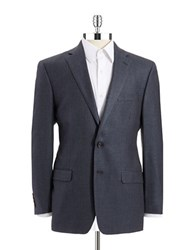 Lauren Ralph Lauren Regular Fit Houndstooth Silk And Wool Sportcoat Blue