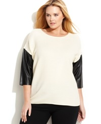 Calvin Klein Plus Size Faux Leather Three Quarter Sleeve Sweater Birch