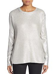 Saks Fifth Avenue Red Lame Crackle Sweater Silver