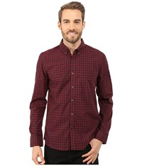 Kenneth Cole Sportswear Long Sleeve Button Down Collar Tonal Check Ember Combo Men's Long Sleeve Button Up Brown