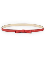 Kate Spade Leather Skinny Bow Belt Red