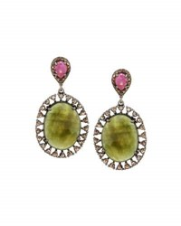 Bavna Multicolored Sapphire And Diamond Double Drop Earrings