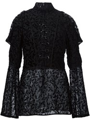Yigal Azrouel Floral Pattern Lace Front Blouse Black