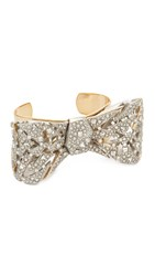 Alexis Bittar Crystal Mosaic Lace Bow Cuff Bracelet Silver Gold Clear