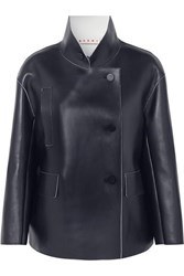 Marni Double Breasted Leather Jacket Navy