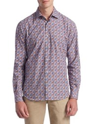 Saks Fifth Avenue Collection Classic Sport Fit Printed Button Down Shirt Purple