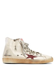 Golden Goose Francy High Top Leather Trainers Cream Multi