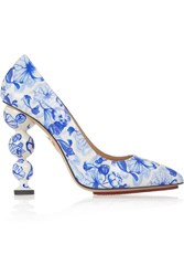 Charlotte Olympia Ming Printed Patent Leather Pumps Blue